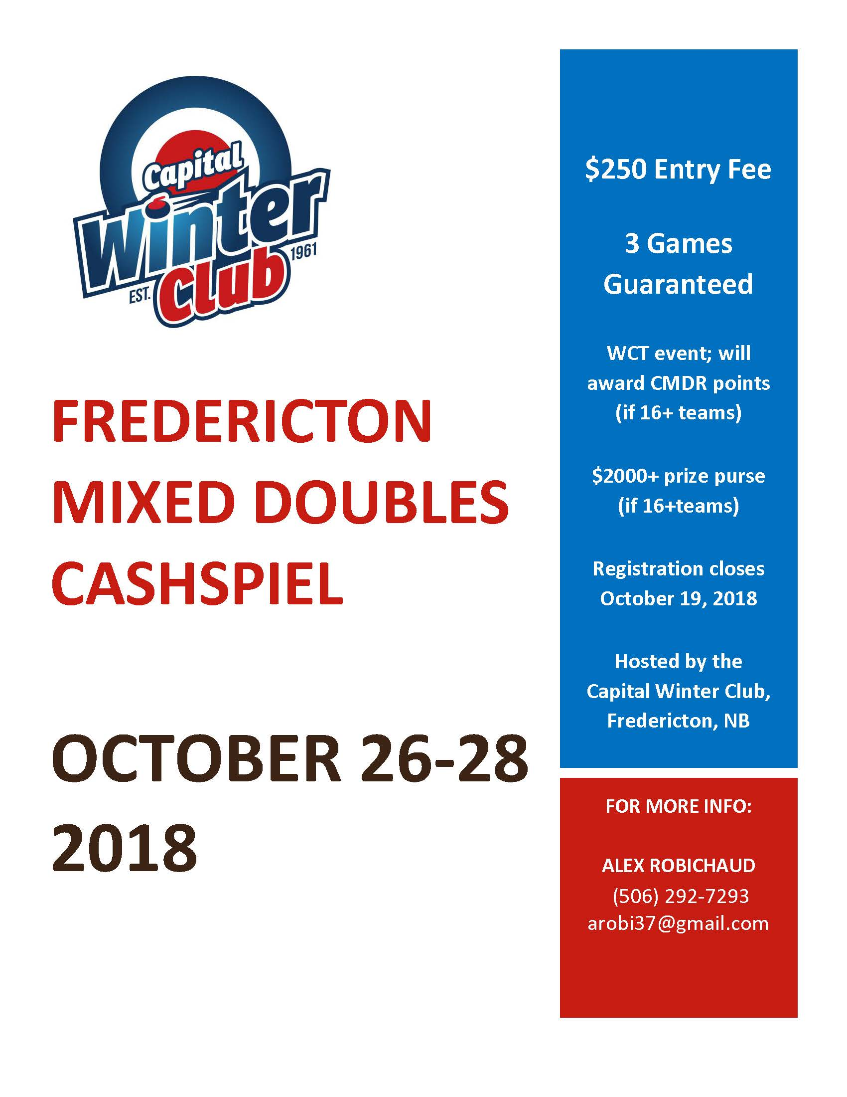 Fredericton Mixed Doubles CashSpiel Poster