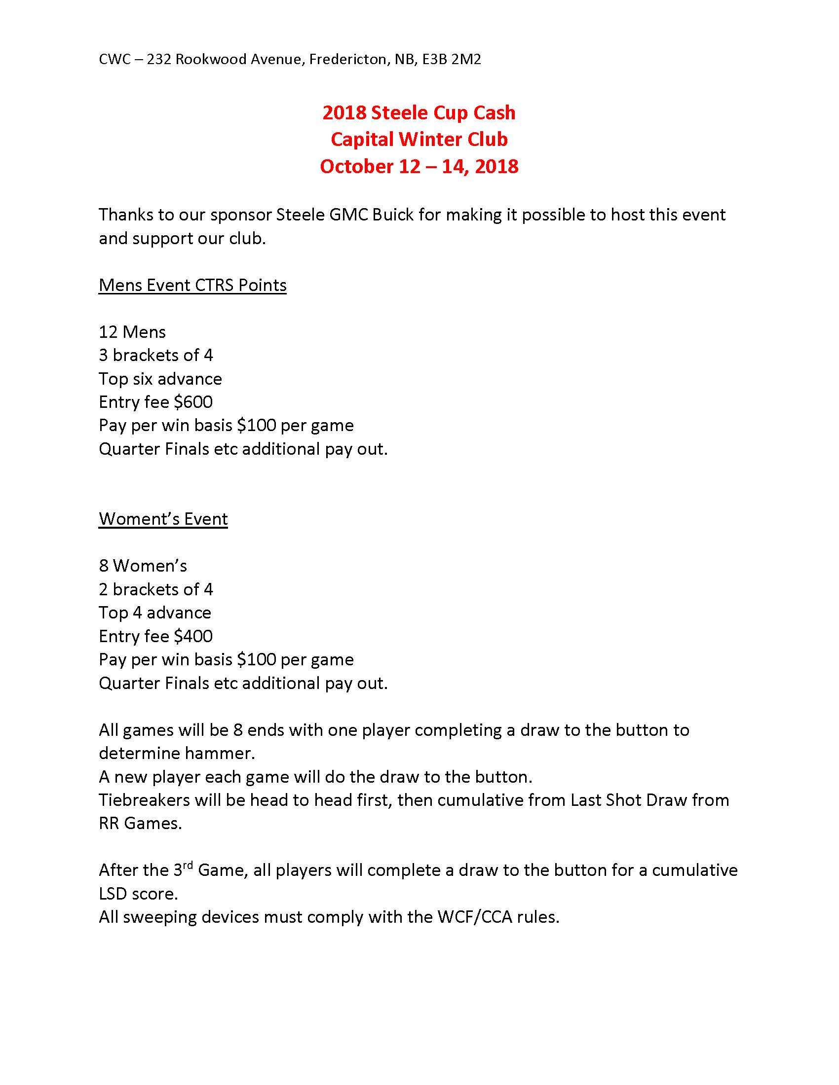 2018 Steele Cup Cash Info and Team Entry Sheet Page 1